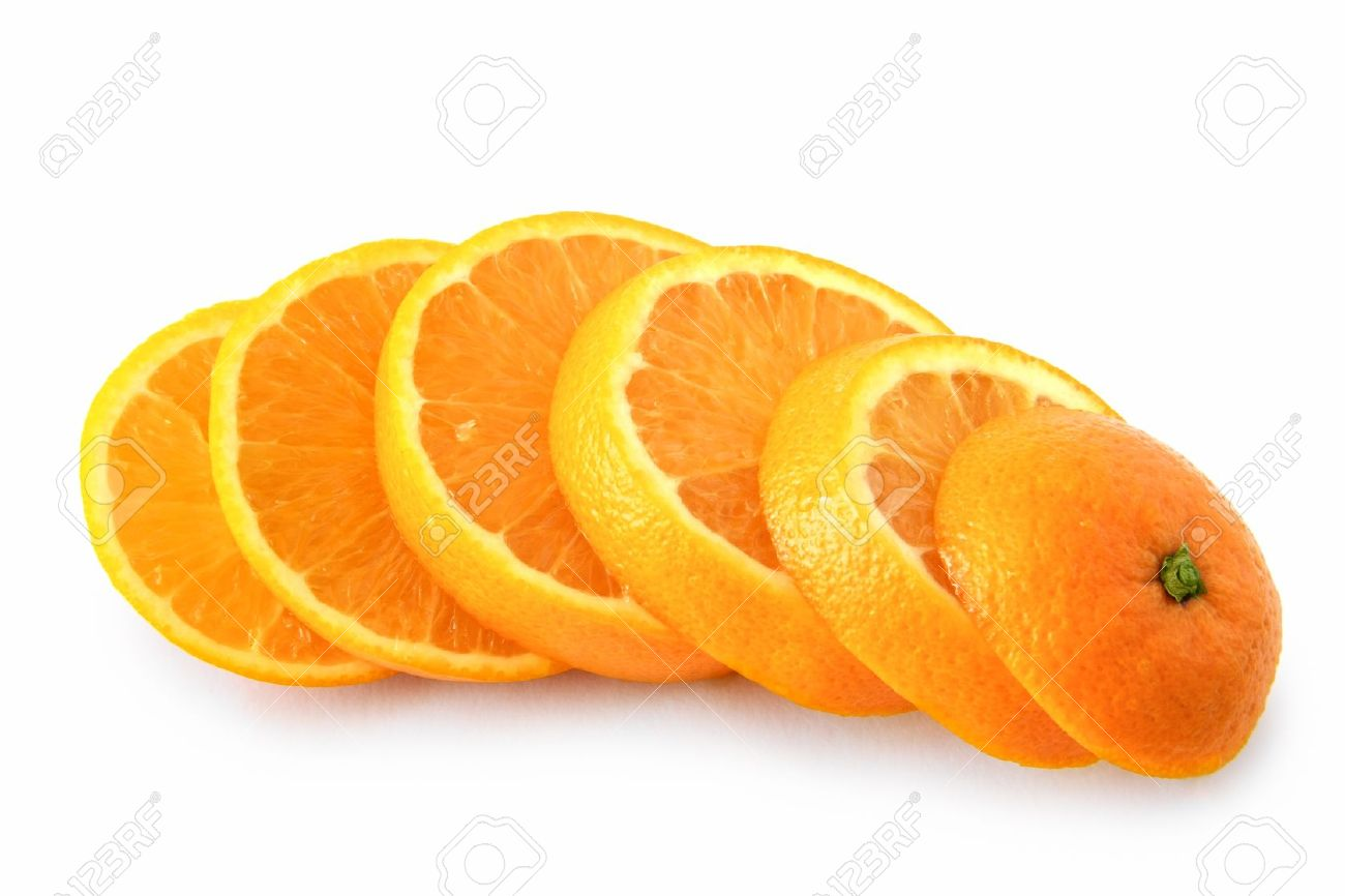 ripe orange cut into slices - 10785674