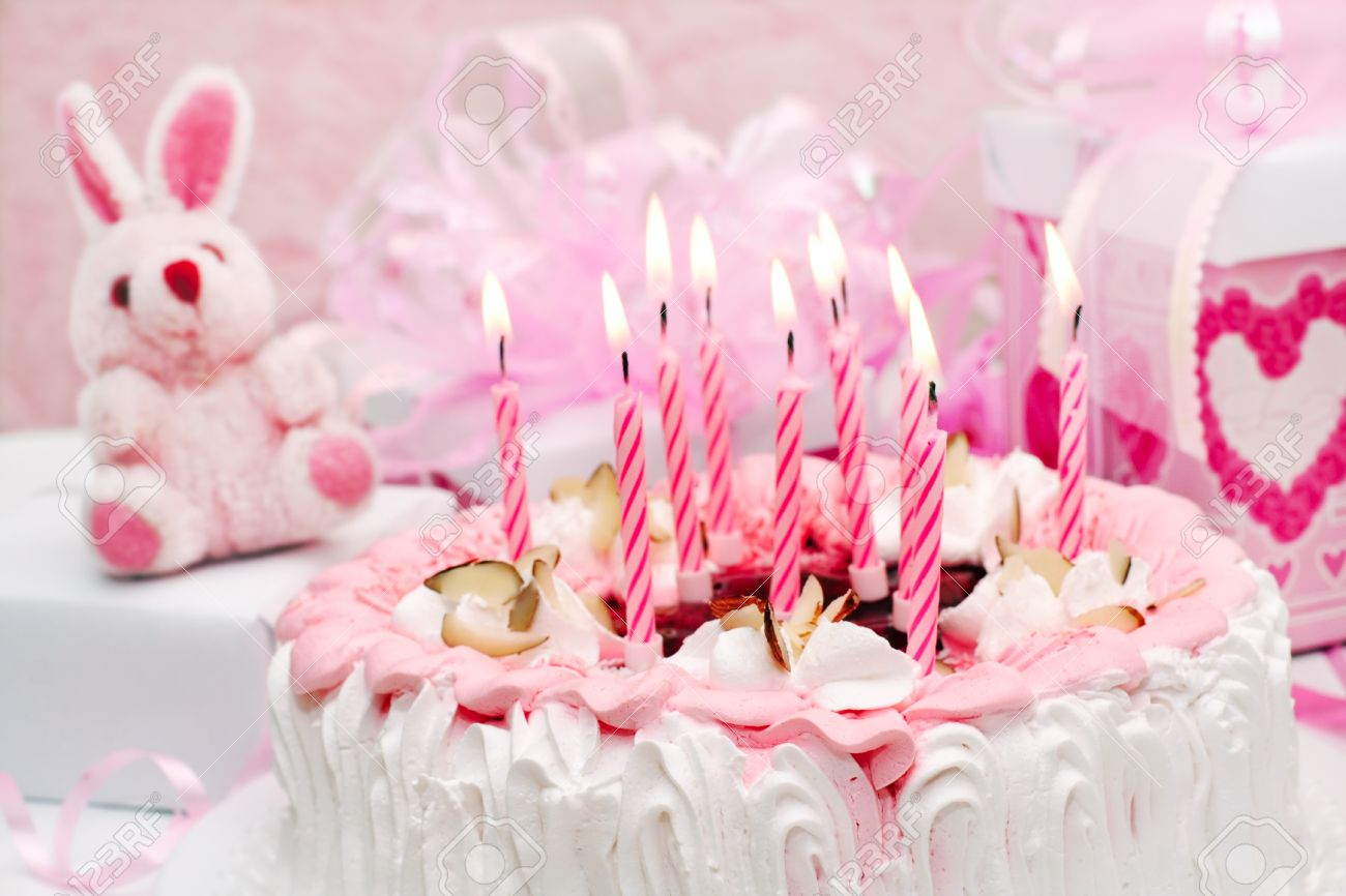 Cake With Candles Pink Gifts Roses Stock Photo Picture And