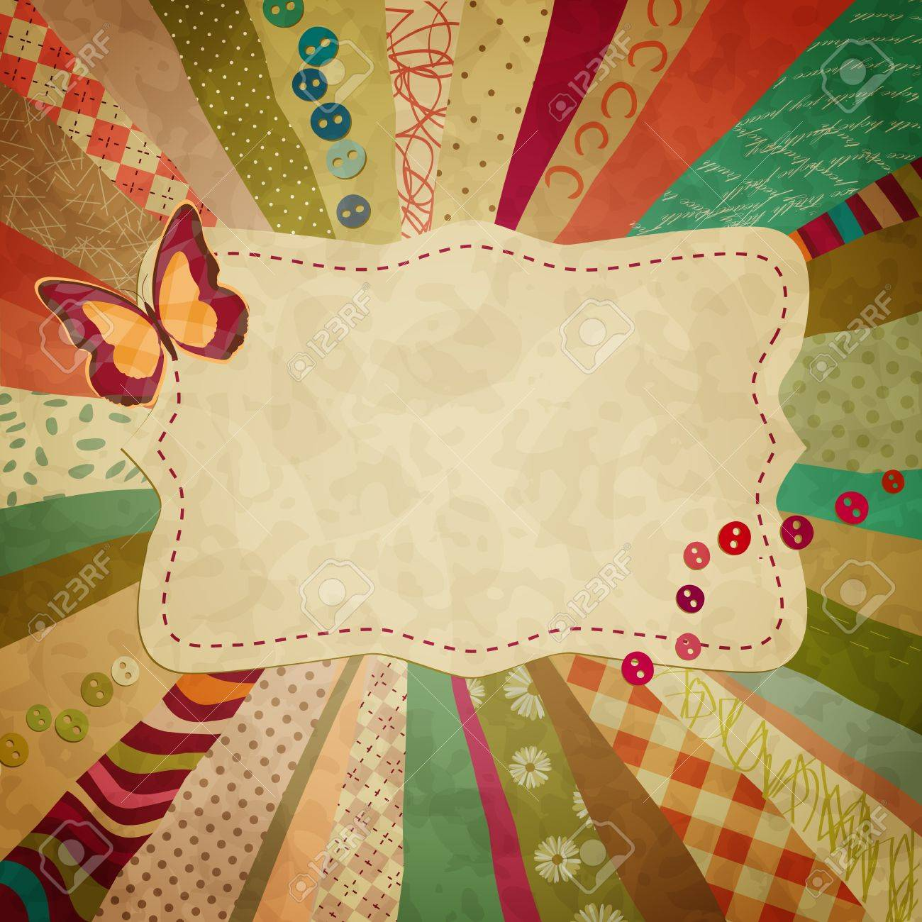 colorful background with pieces of cloth and a butterfly for your photos Stock Vector - 11564433