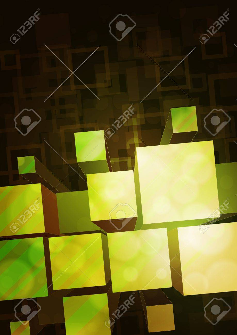 yellow-green background with a bulky prisms Stock Vector - 13566118