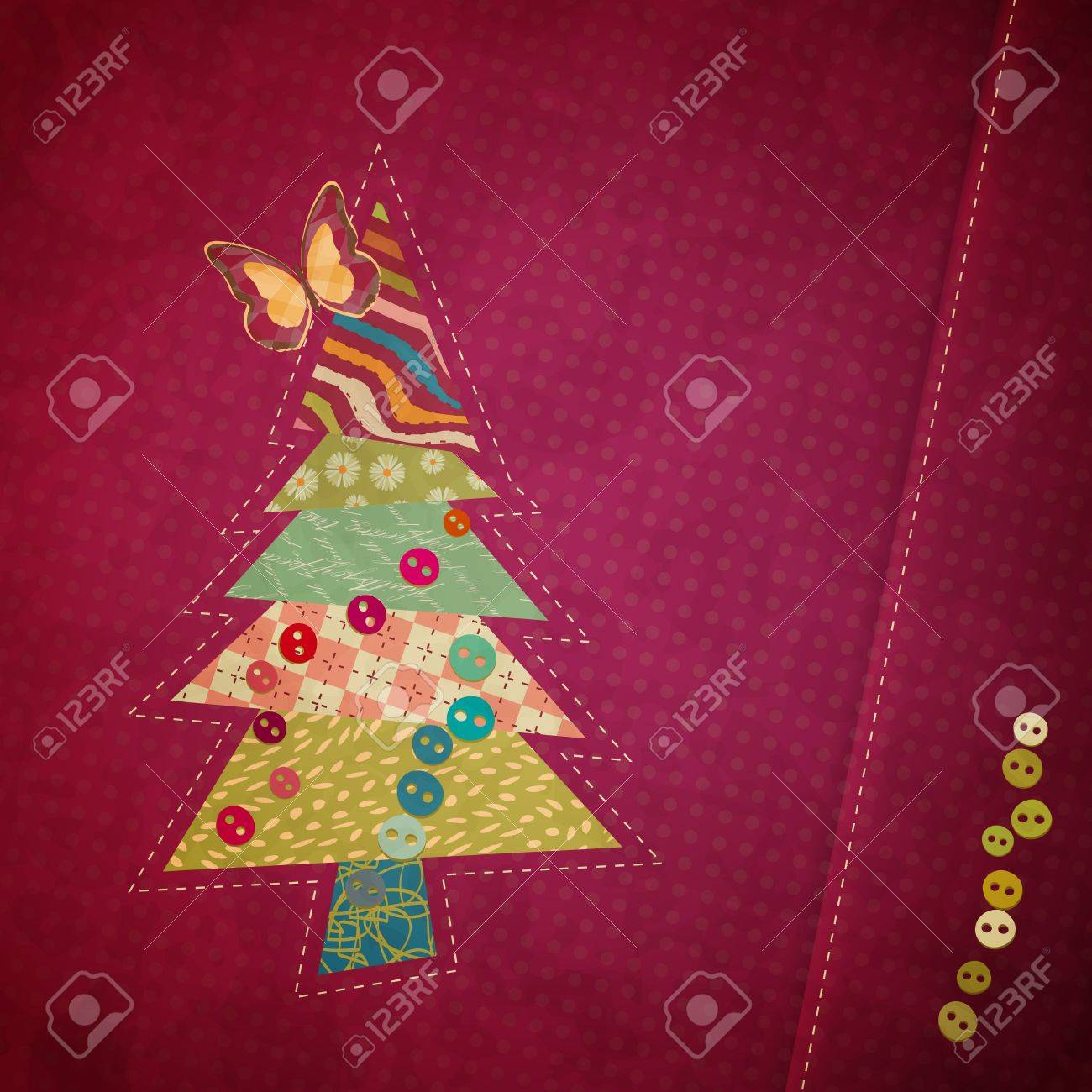 applique fabric Christmas tree with bow Stock Vector - 15416955