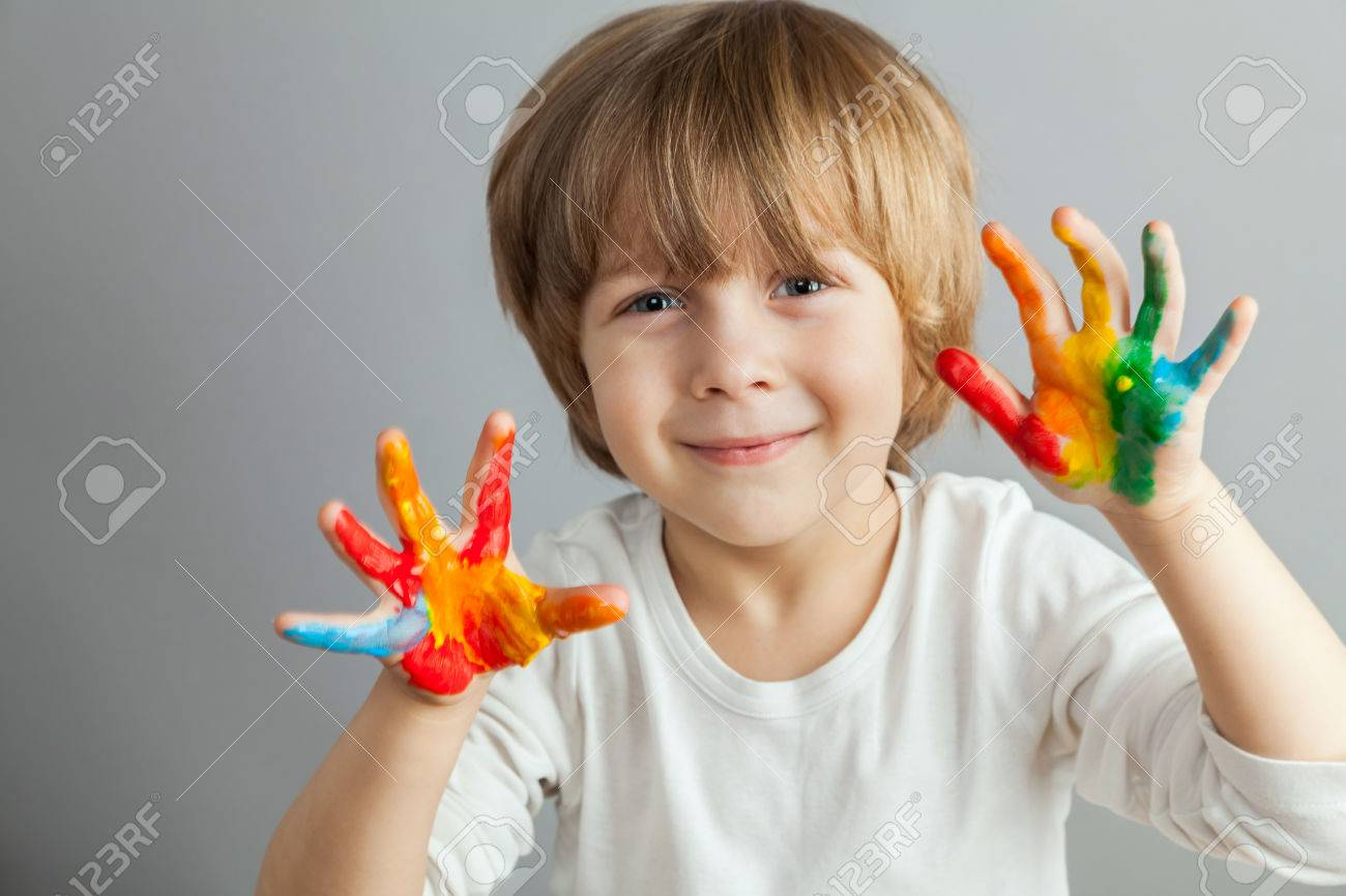 little girl and boy hands painted  in colorful paints Stock Photo - 37551335