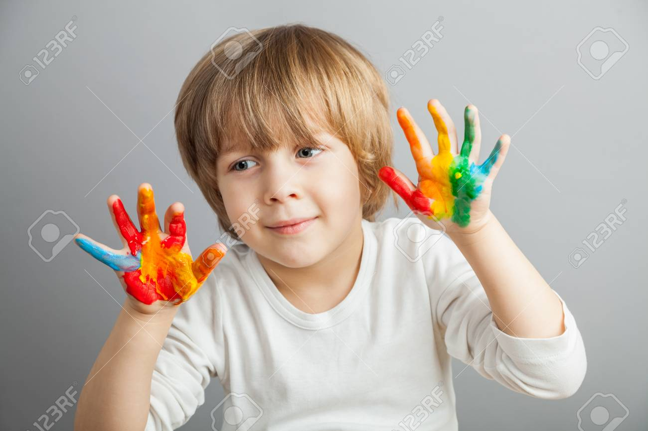 little girl and boy hands painted  in colorful paints Stock Photo - 38436896