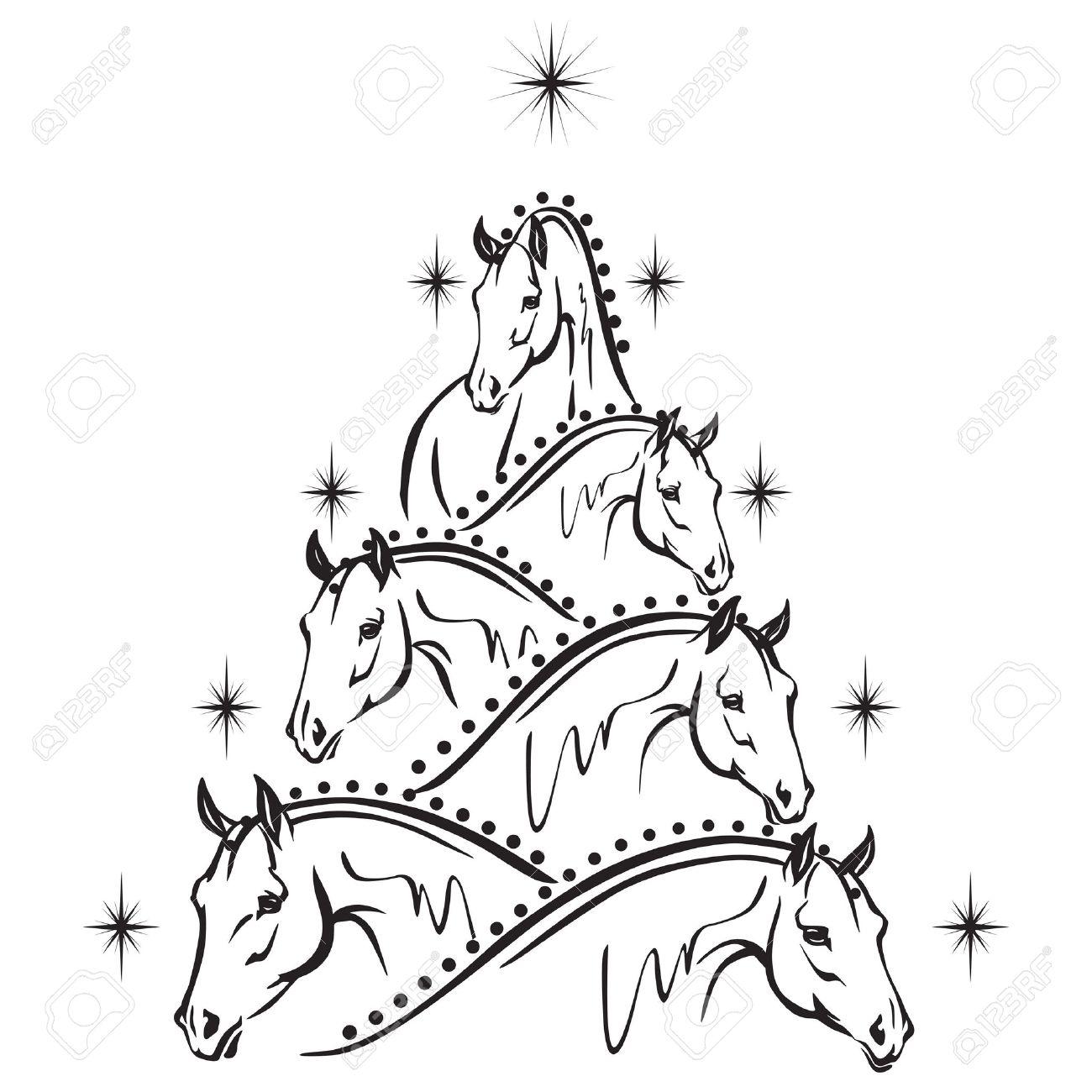 Horse Lovers Christmas Tree - Sport Horses Royalty Free Cliparts ...