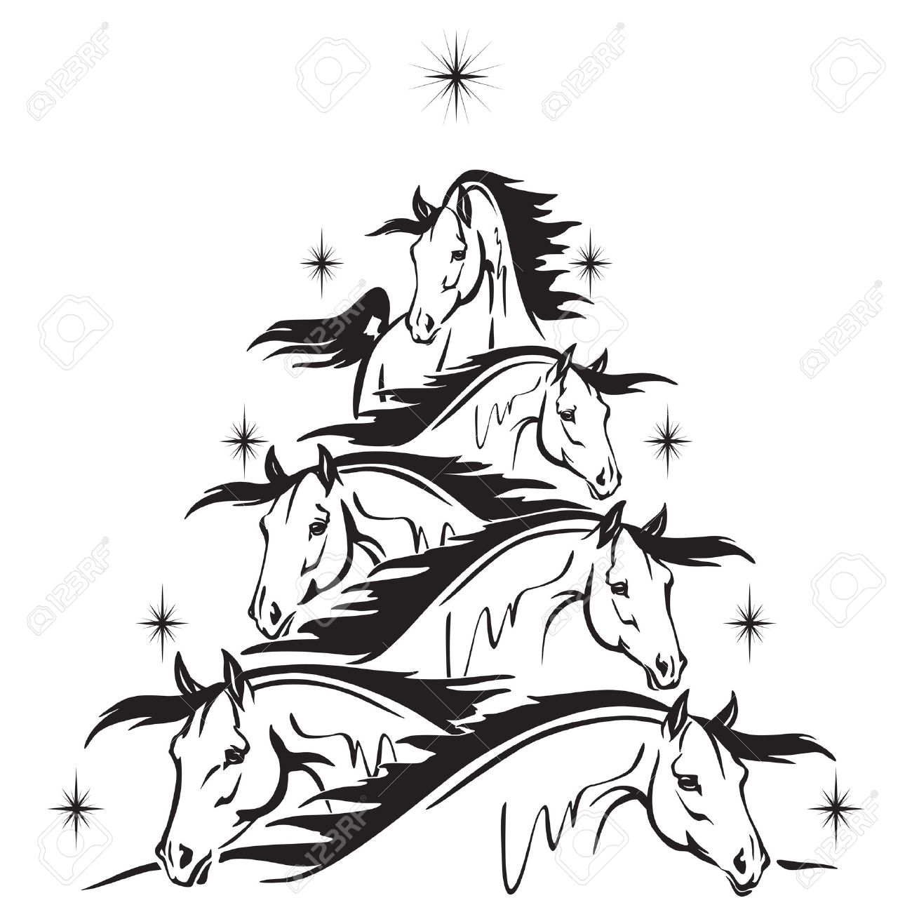Christmas Horse Drawing.Christmas Tree Of Horses Heads