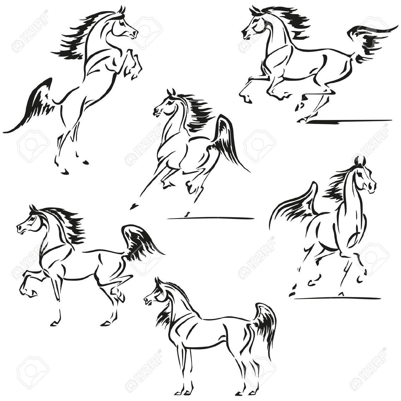 Simplified Silhouettes Of Arabian Horses Royalty Free Cliparts Vectors And Stock Illustration Image 42834337