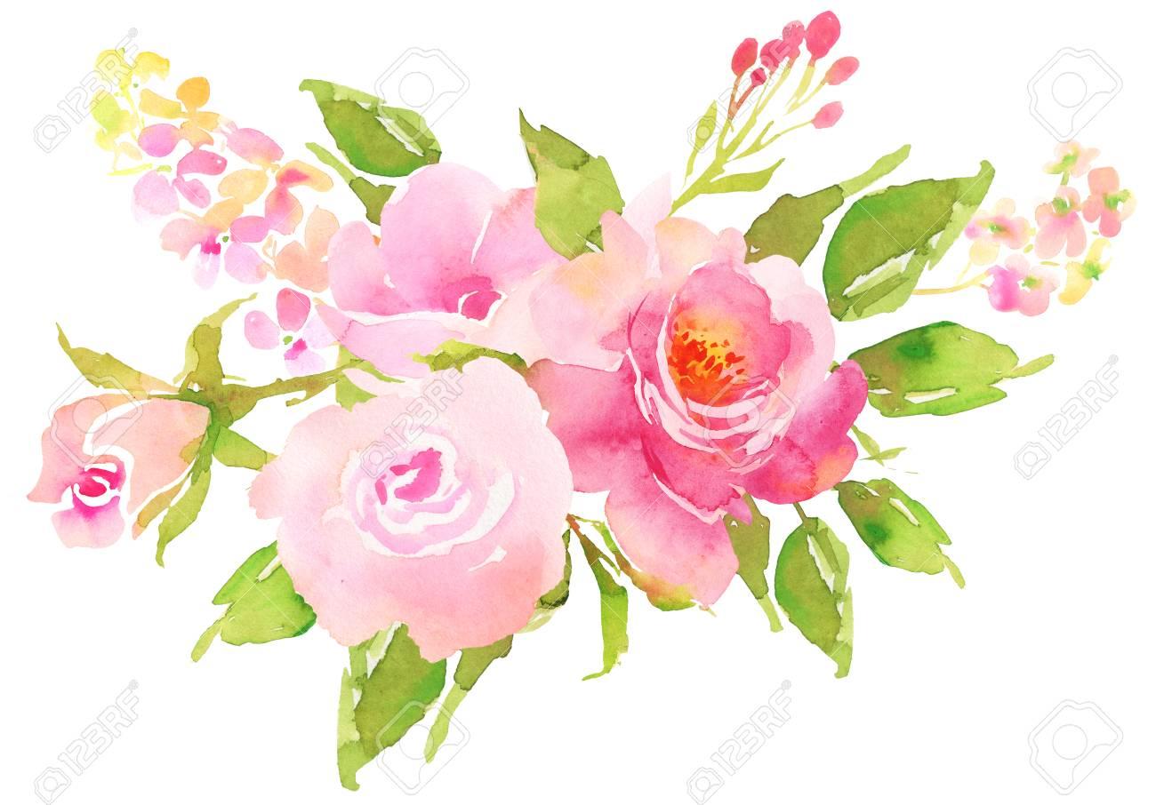 Ramo De Flores Bohemio Con Rosas. Composición Decorativa Para ...