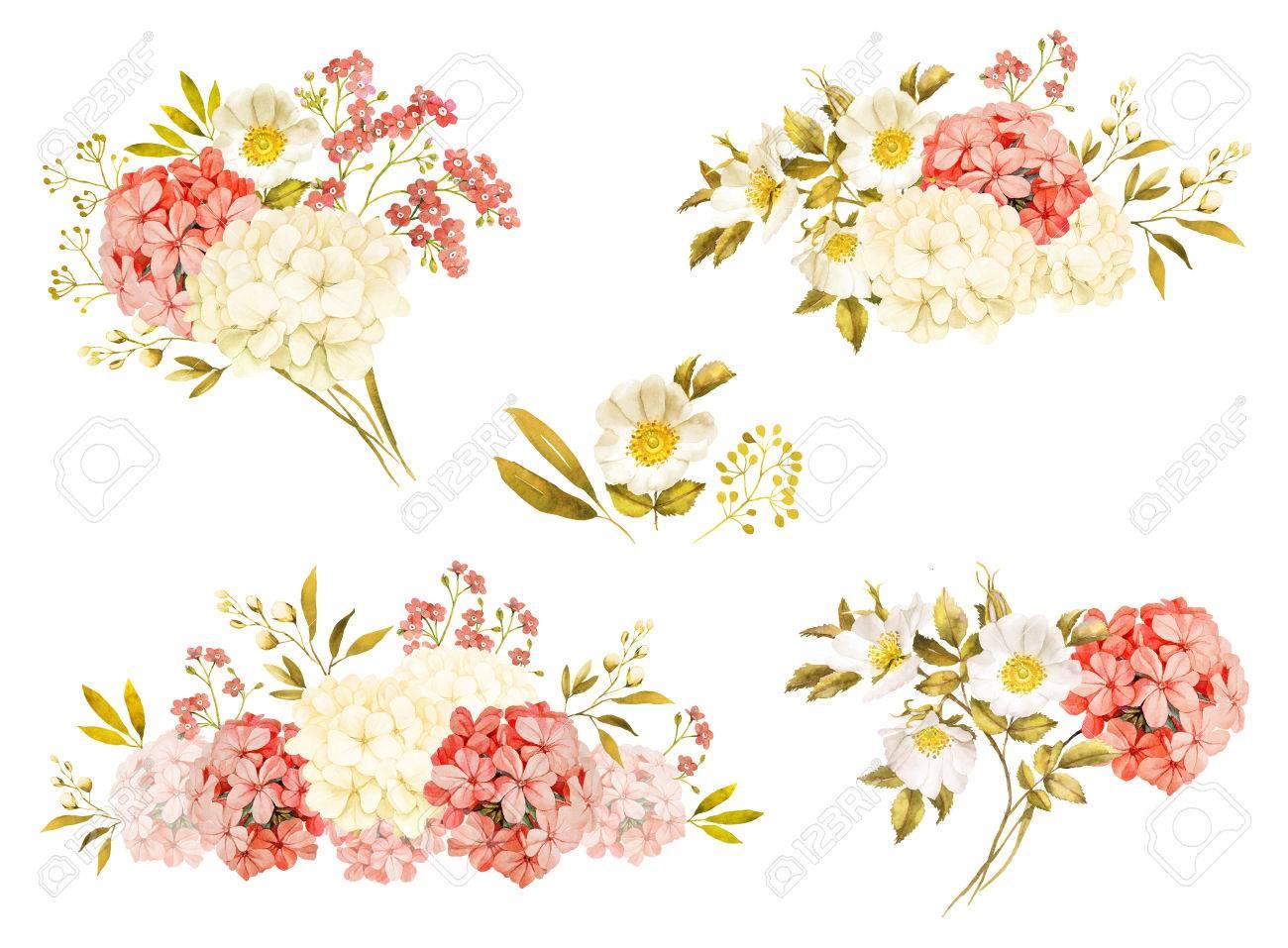 Pink white jasmine hydrangea rose flowers wedding watercolor pink white jasmine hydrangea rose flowers wedding watercolor bouquet collection stock photo 73264671 izmirmasajfo