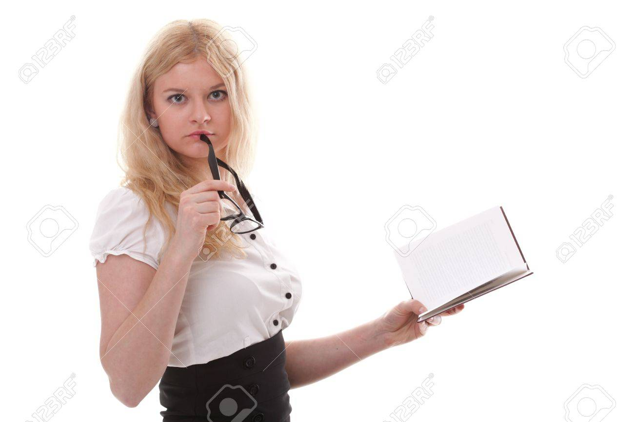 girl with book - Beautiful young woman with books isolated on a white background Stock Photo - 11706285