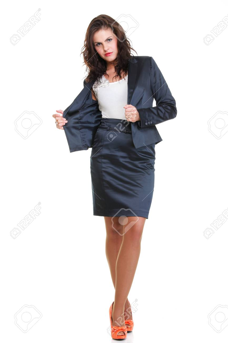 Modern business woman smiling and looking, full length portrait isolated on white background. Stock Photo - 13088863