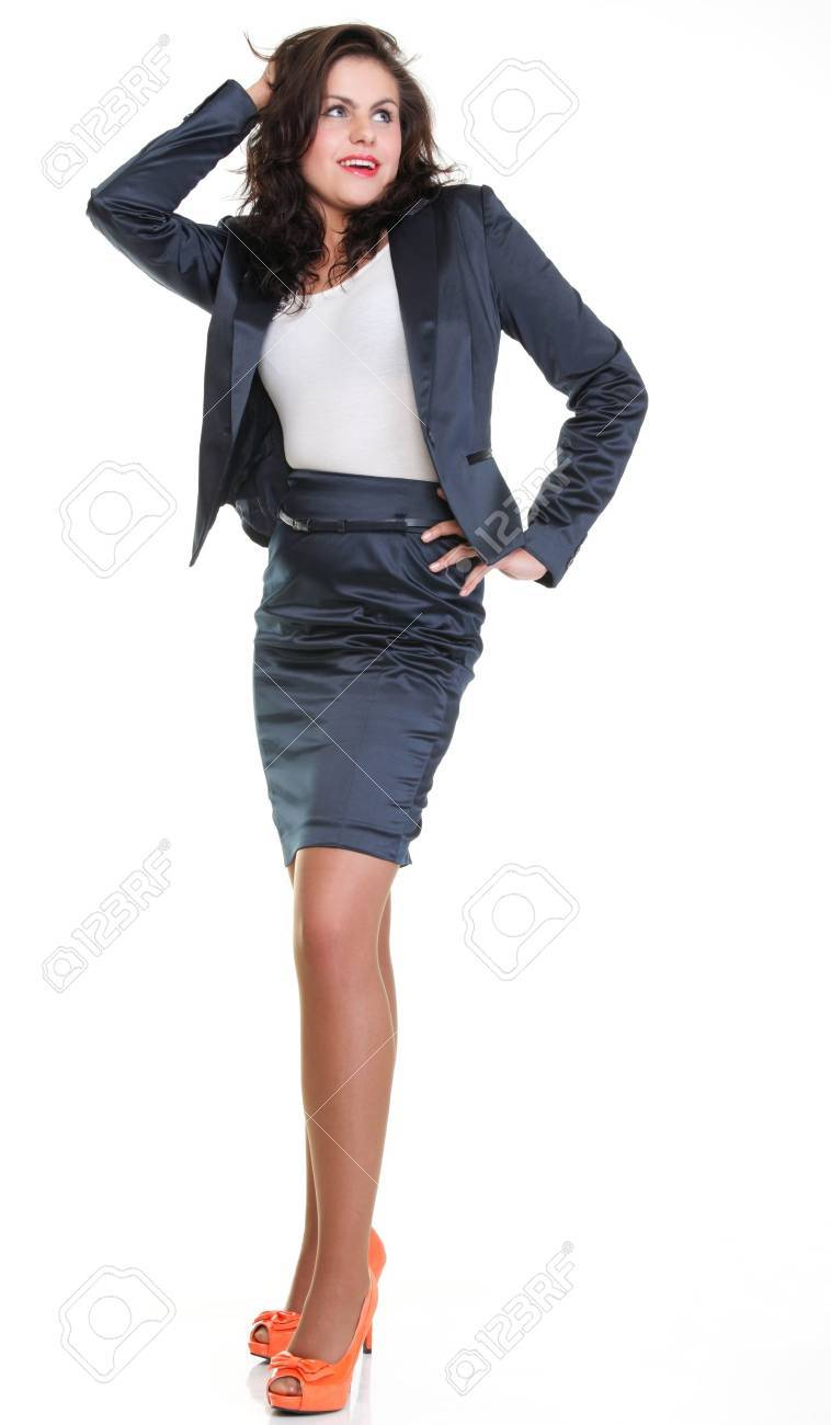 Modern business woman smiling and looking, full length portrait isolated on white background. Stock Photo - 13088858