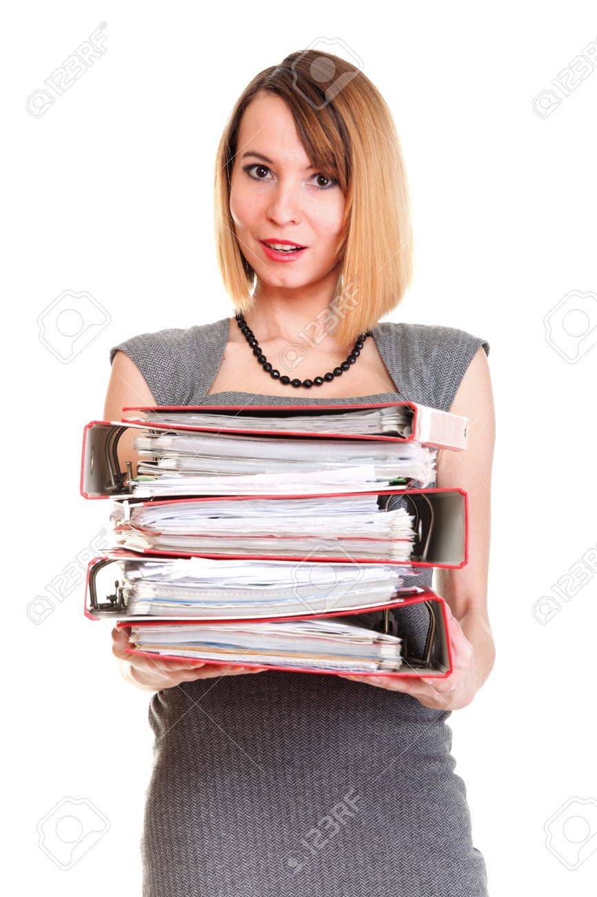 Woman Overworked Businesswoman Holding Plenty Of Documents Isolated