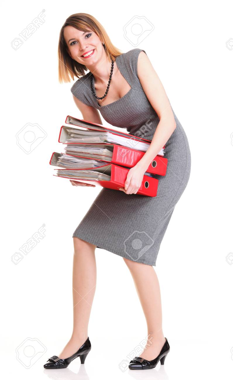 woman Overworked businesswoman holding plenty of documents isolated white red folder Stock Photo - 13258346