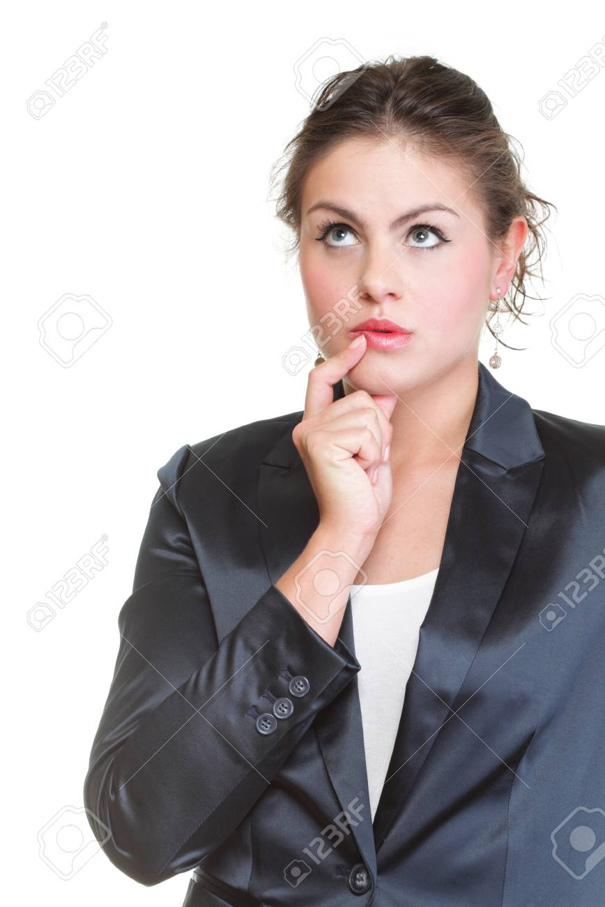 Thoughtful young woman, isolated over a white background Stock Photo - 13258307