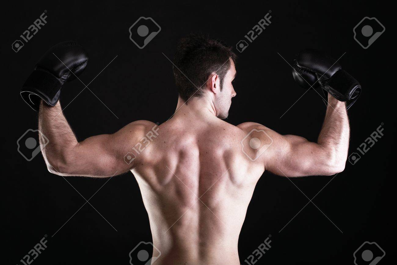 boxer raising his arms strong athletic muscle man sports guy