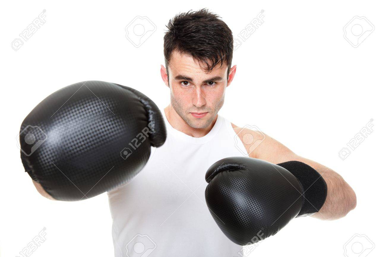 Sport health studio picture from a young boxer isolated on white Stock Photo - 13570705