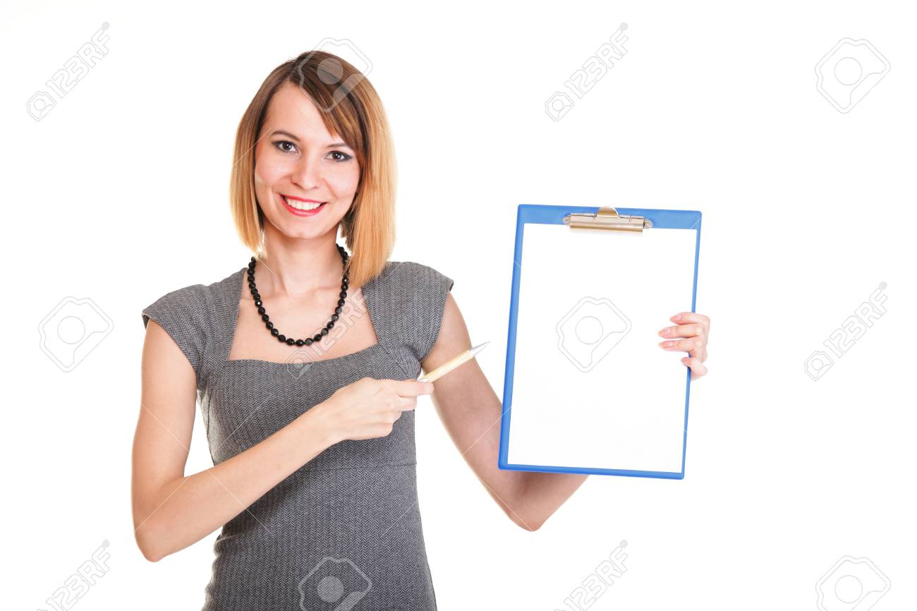 young business woman standing with her clipboard isolated on white background Stock Photo - 15479526