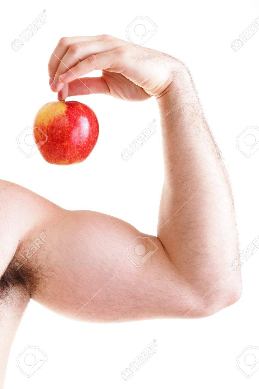 Red Apple On Man Bicep Muscle Isolated On White Athletic Sexy