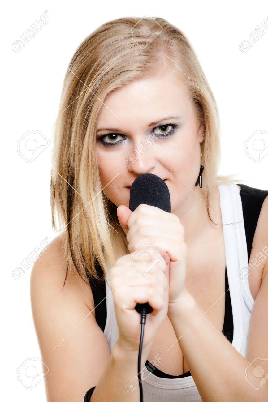 Music  Blonde girl pop singer musician performer singing a song