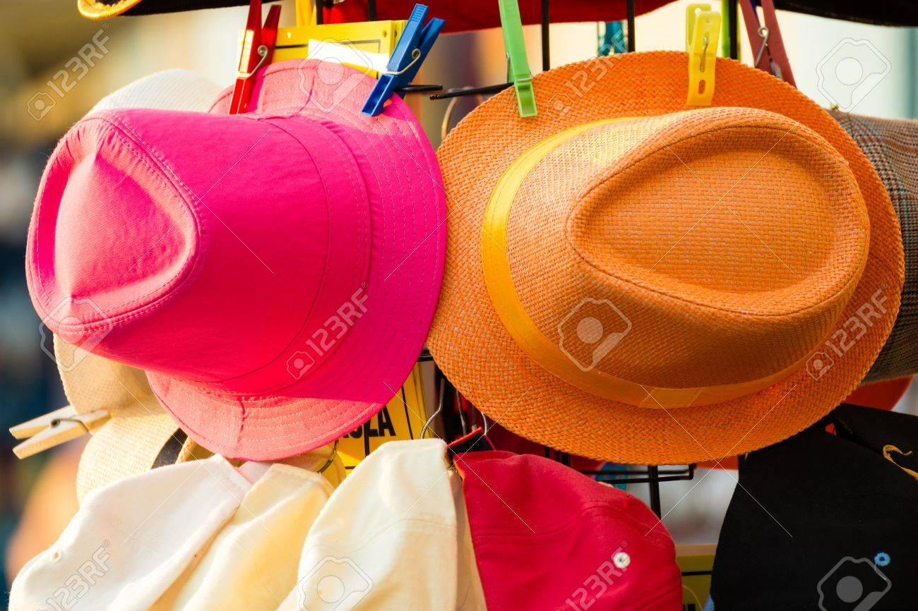 a2da980e6c74d Summer hats for sale in a market stall outdoor Stock Photo - 41920050