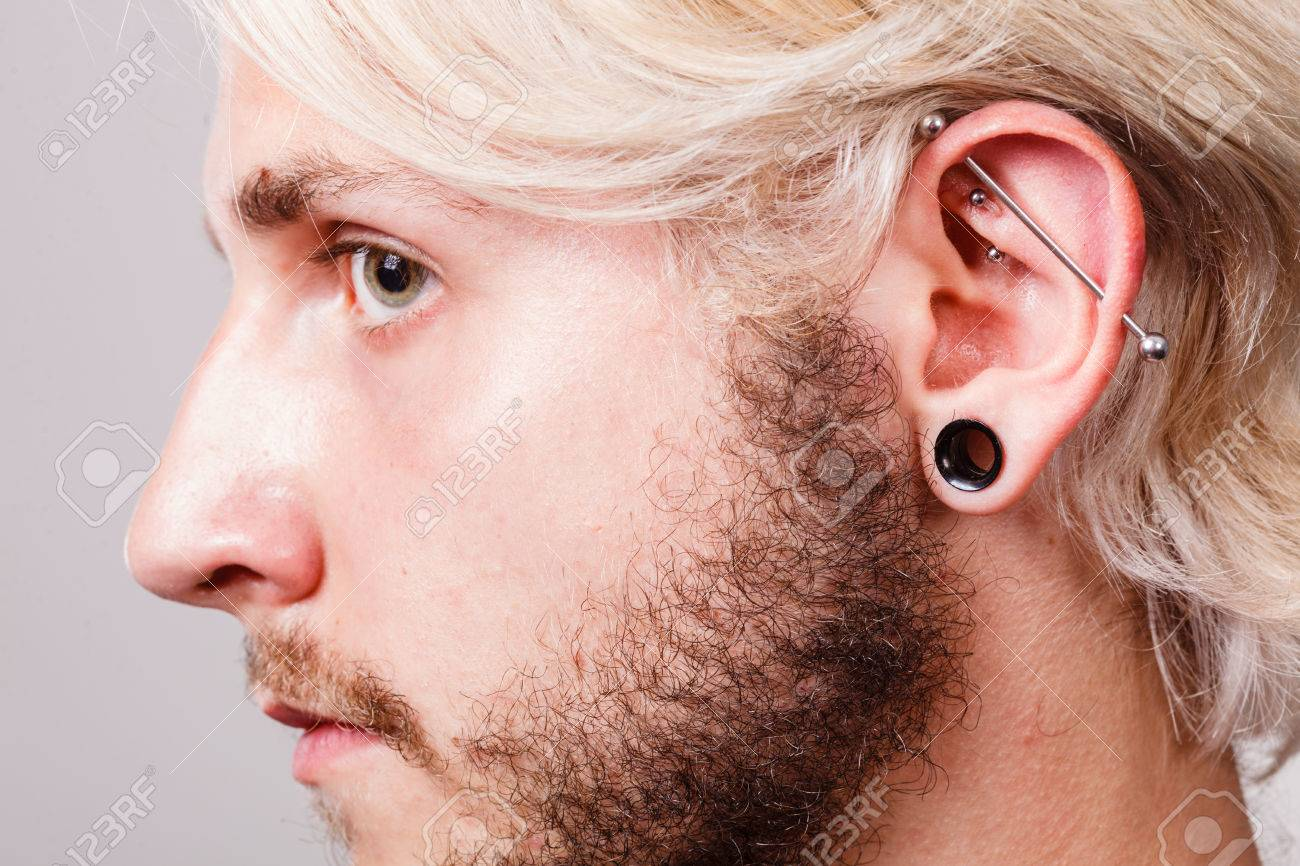 Stretched Lobe Piercing Grunge Concept Pierced Man Ear With