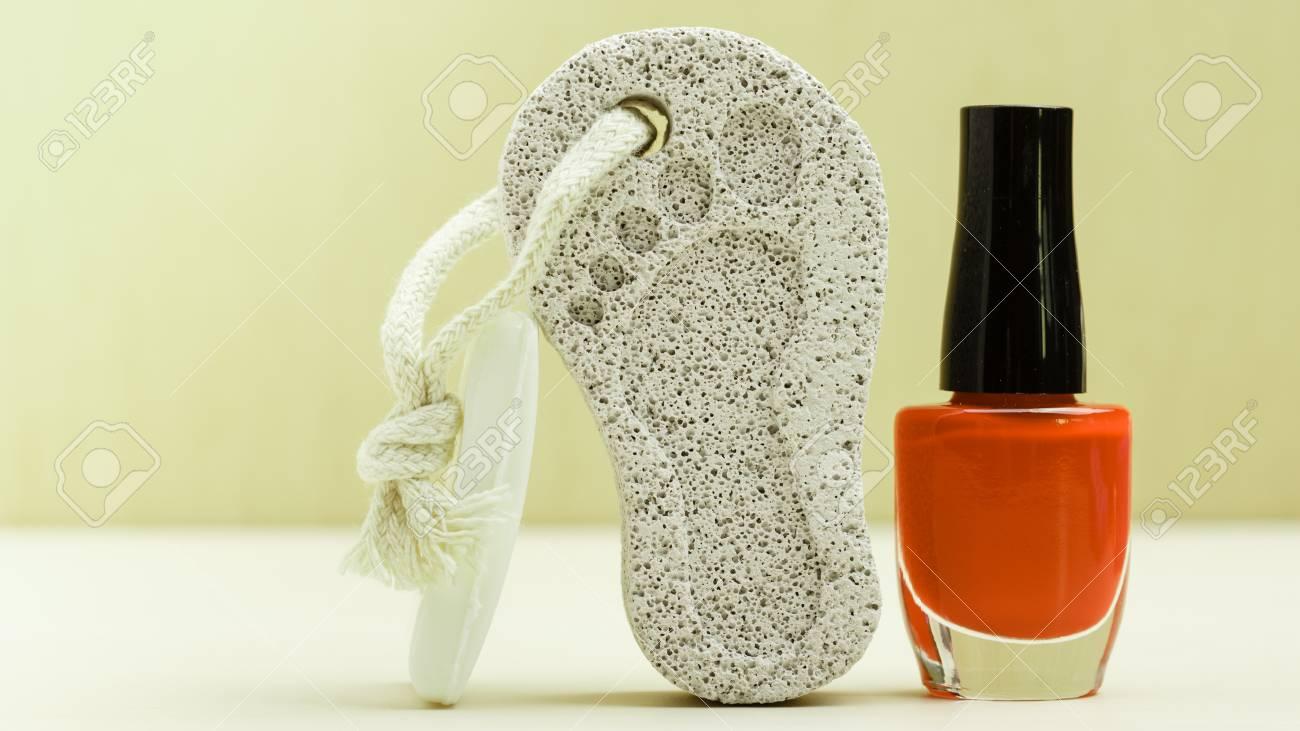 Feet Nails Care. Pedicure Accessories Set Tools: Bar Of Soap ...