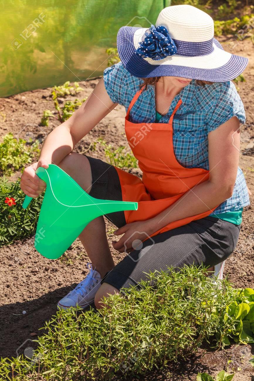 gardening. mature woman in orange apron big hat working in garden
