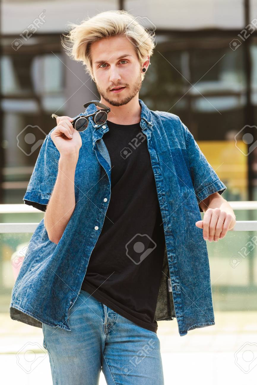 Men Fashion Urban Style Clothing Concept Hipster Guy Standing