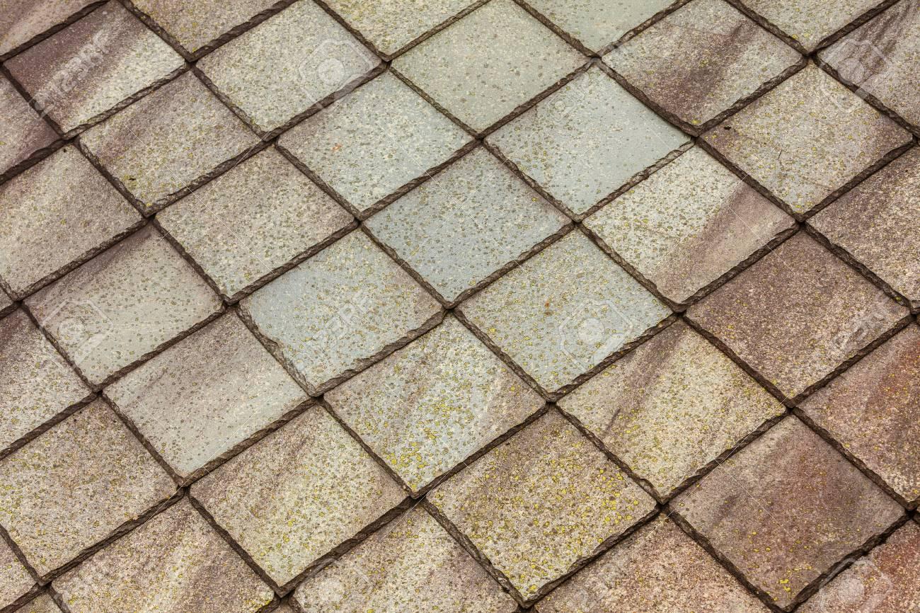 Piastrelle di pietra marrone tetto texture sfondo di architettura