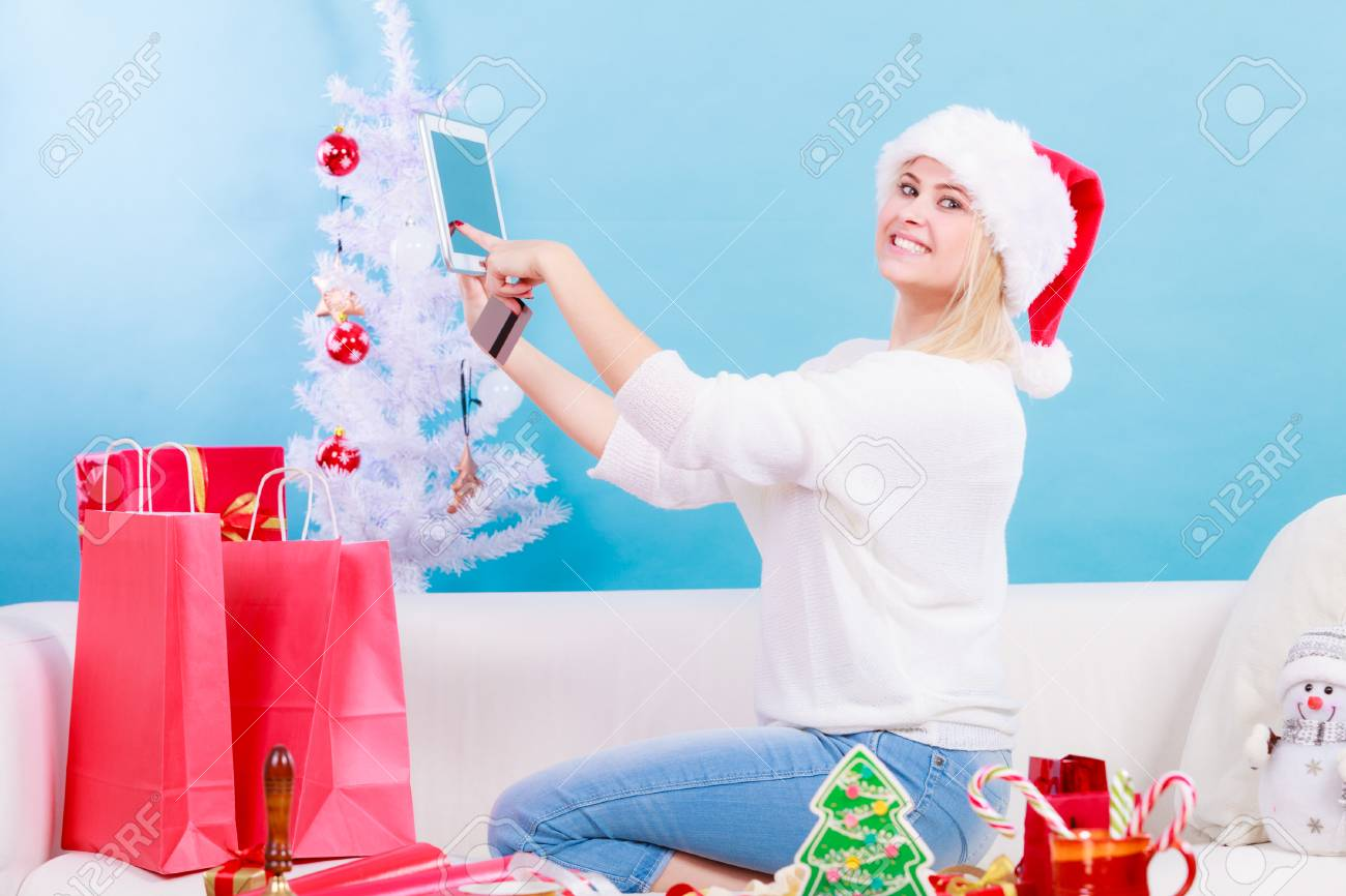 Online Shopping, Buying Christmas Gifts On Internet Concept... Stock ...
