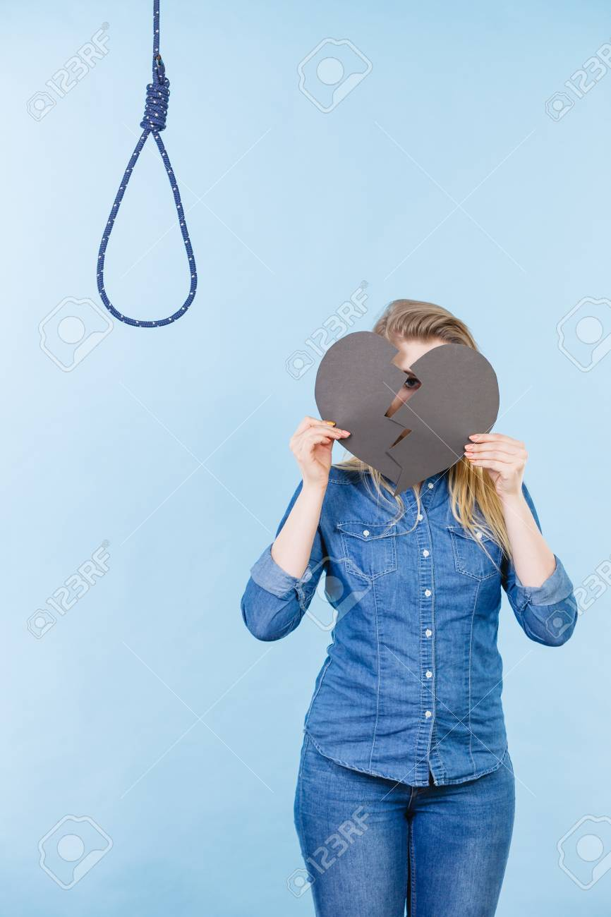 Sad Depressed Woman Thinking About Suicide After Having Broken Stock Photo Picture And Royalty Free Image Image 113456994