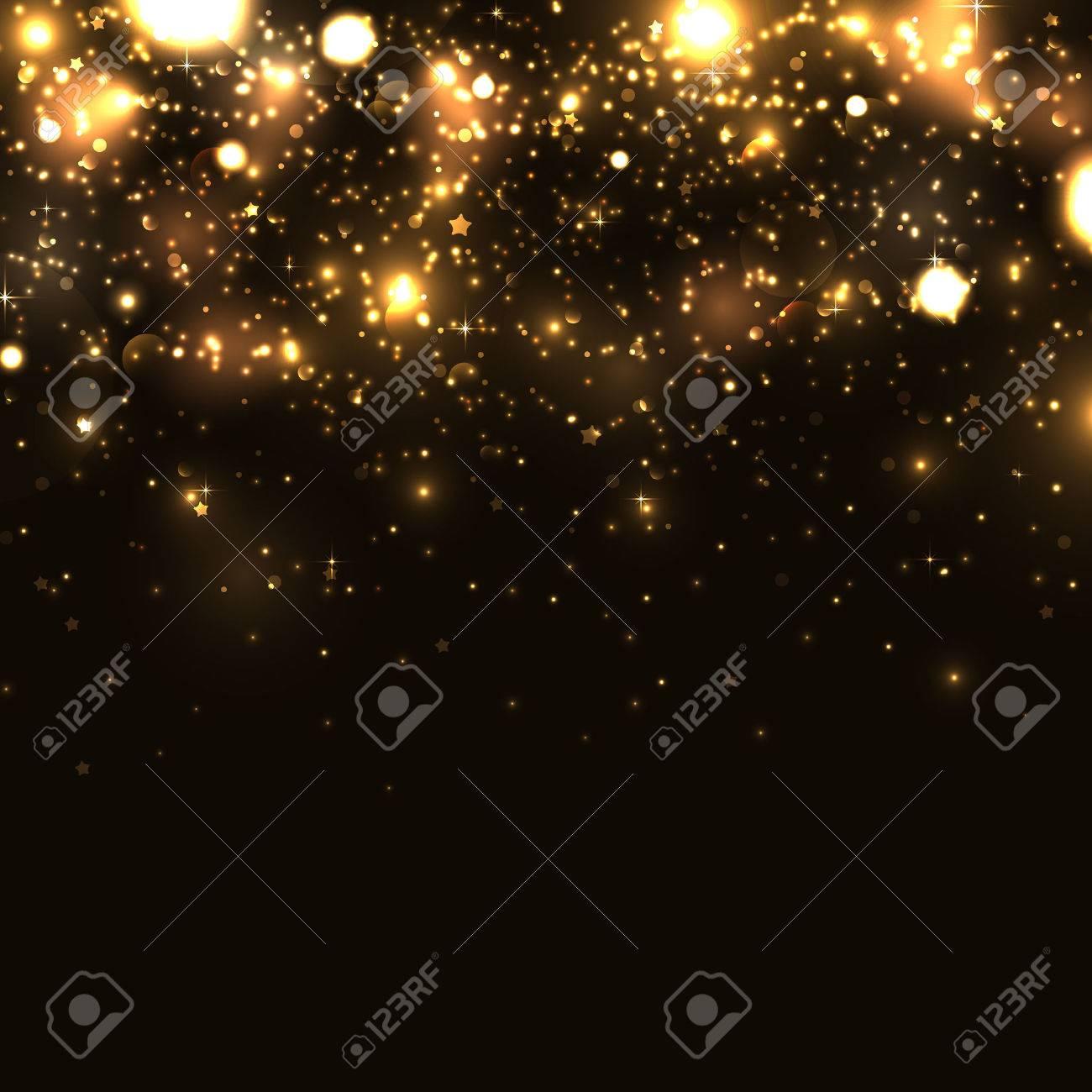 Shiny sparkles on black background - 50420736