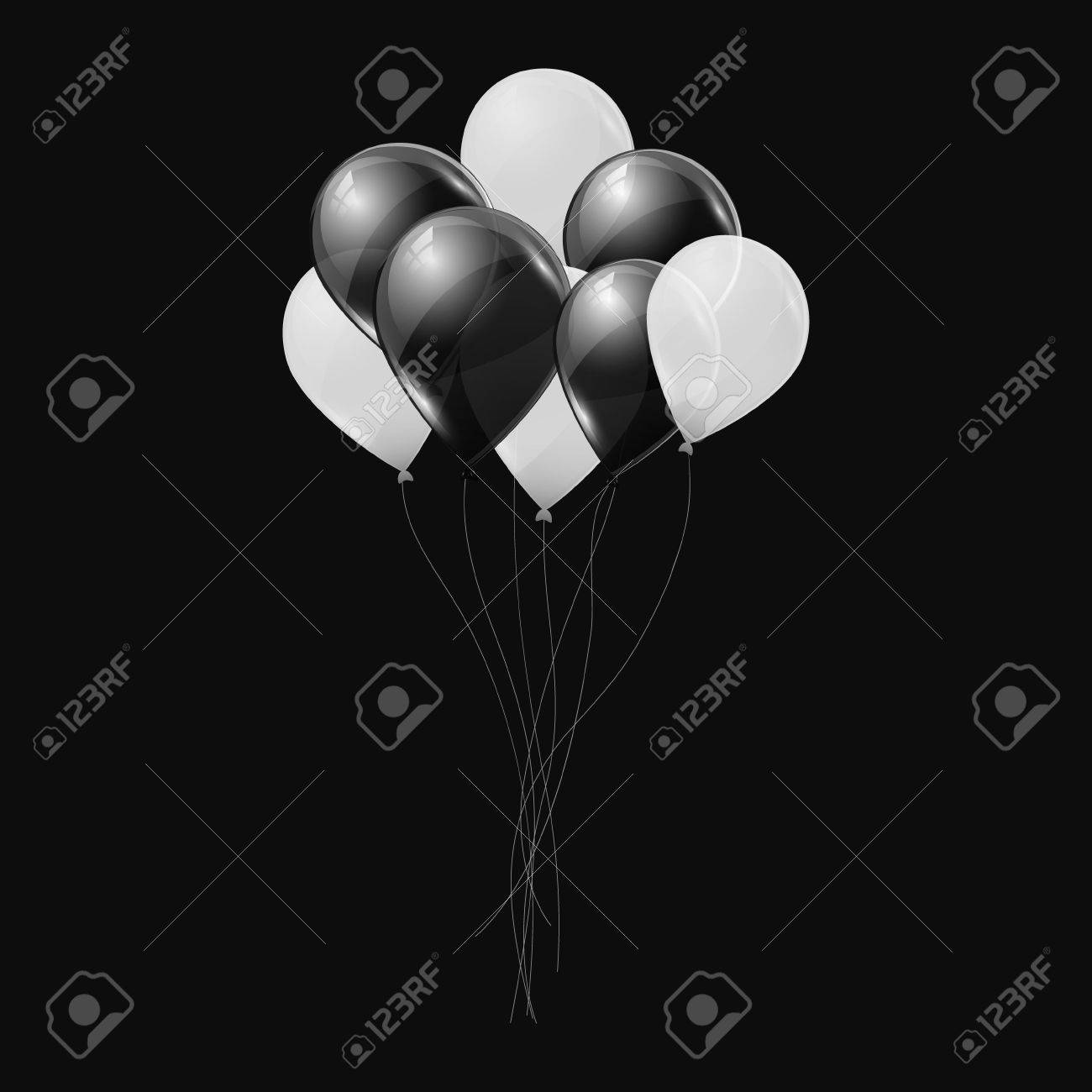 Black and white helium balloons on black background. Flying latex ballons. Vector illustration. - 68353194