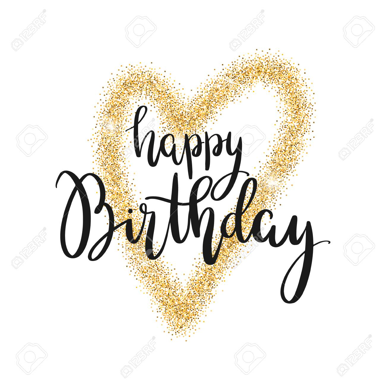 Happy Birthday Lettering Handwriting Design Element For Birthday