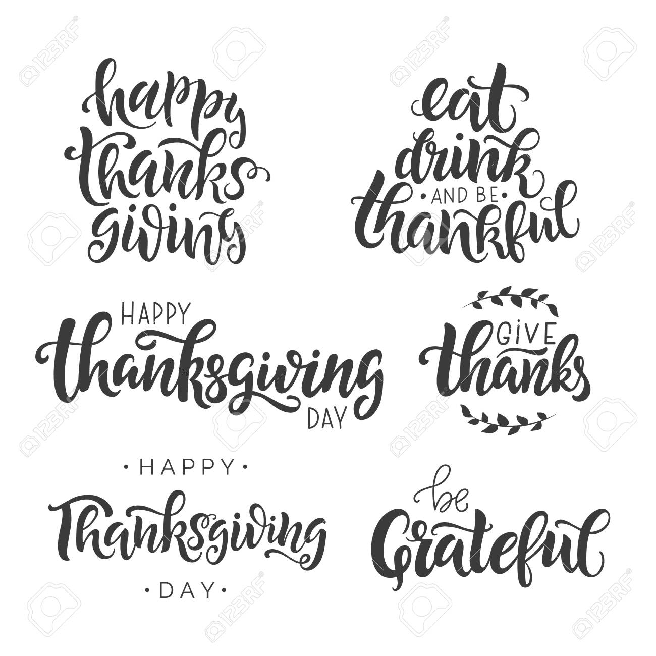 Happy Thanksgiving Day lettering set. Hand written greeting card template for Thanksgiving day. Modern calligraphy, hand lettering inscription. Isolated typography print. Vector illustration. - 131589452