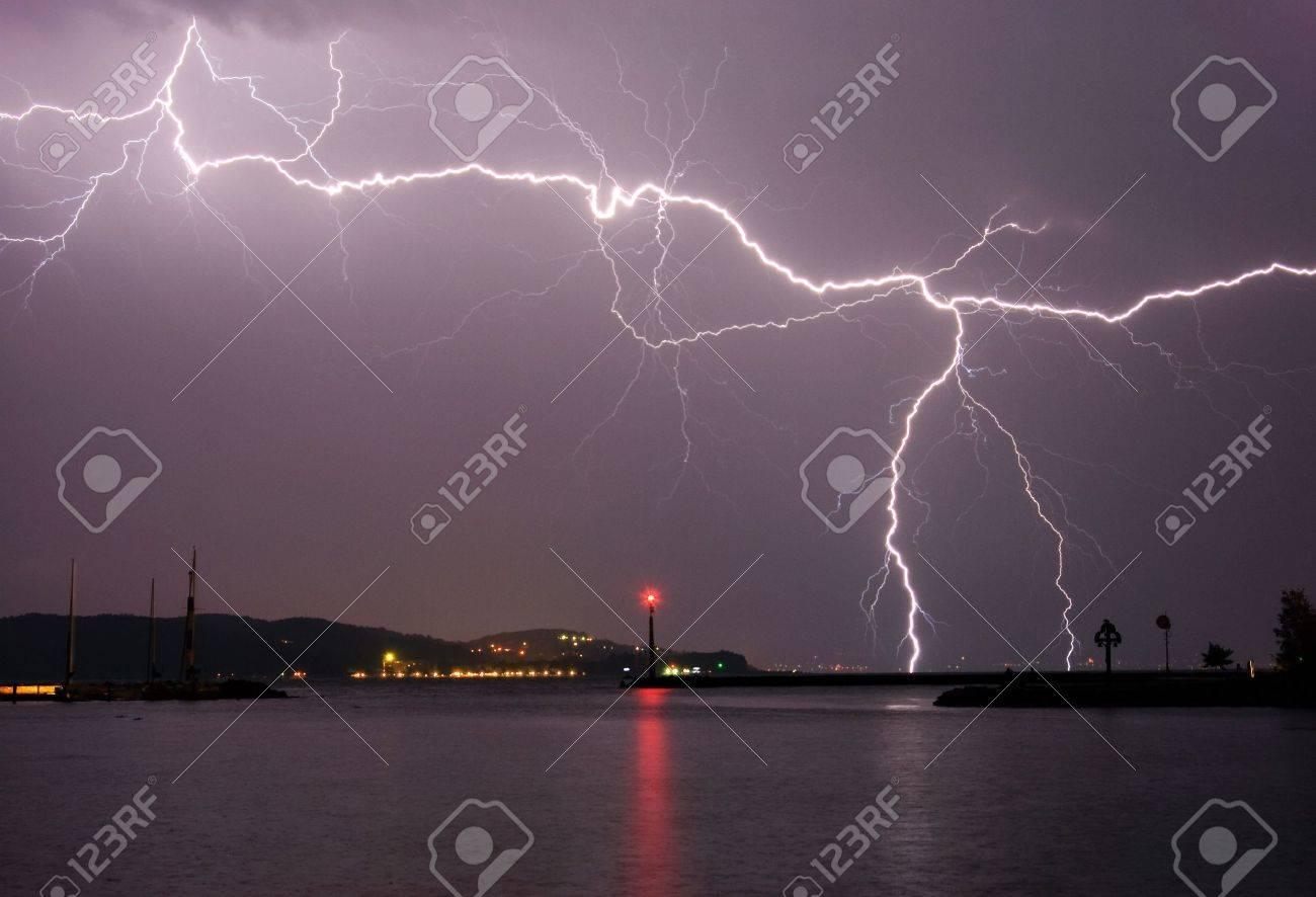 Lightning above the lake Stock Photo - 5324743
