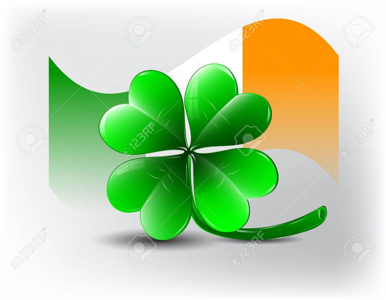 St  Patricks day card - clover shape and irish flag Stock Vector - 17500485