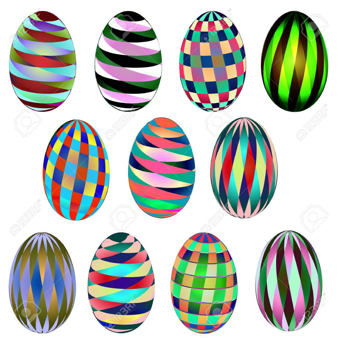 Abstract Pattern Easter Eggs Stock Vector