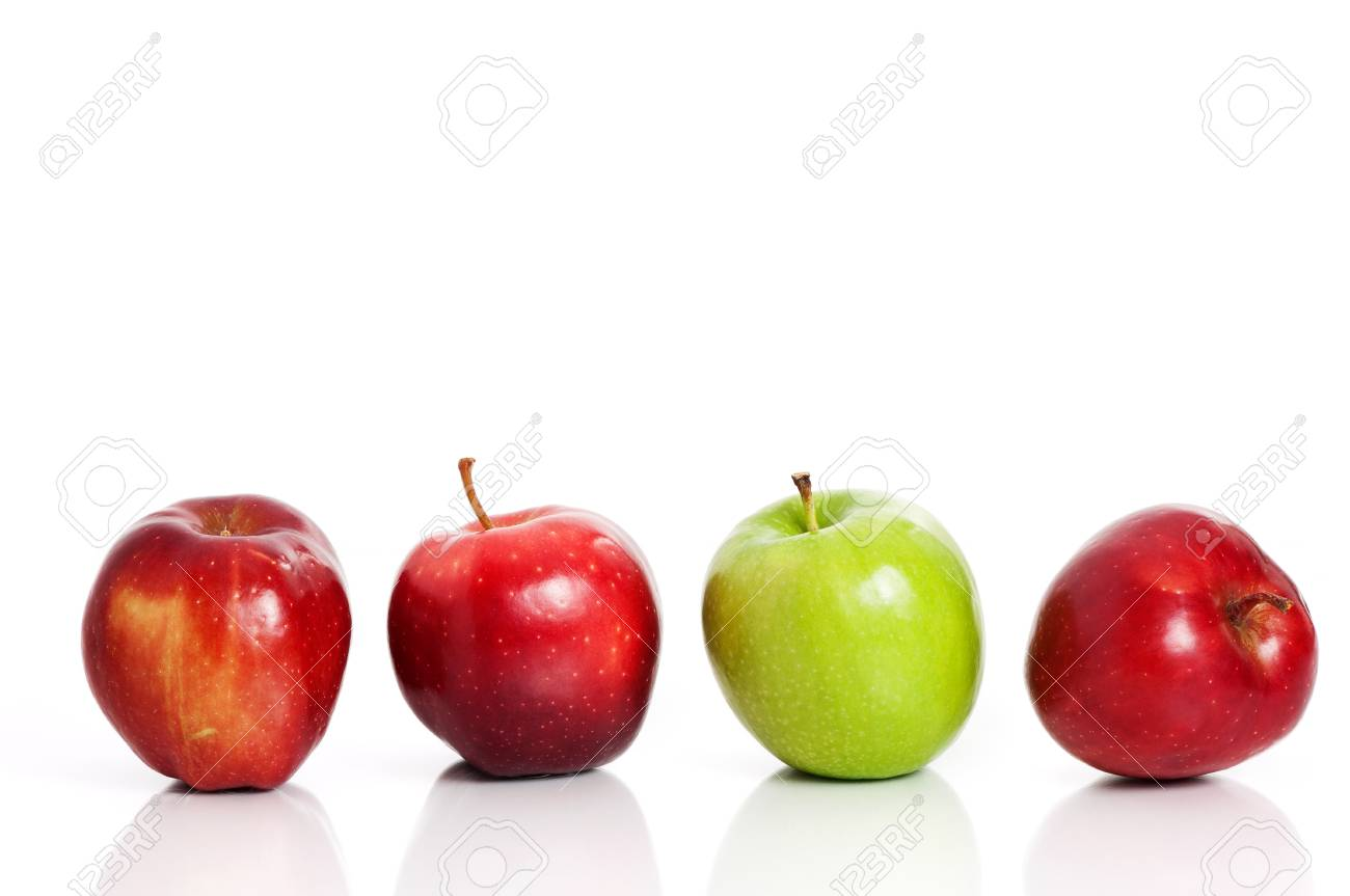 four apples in a row over white stock photo picture and royalty