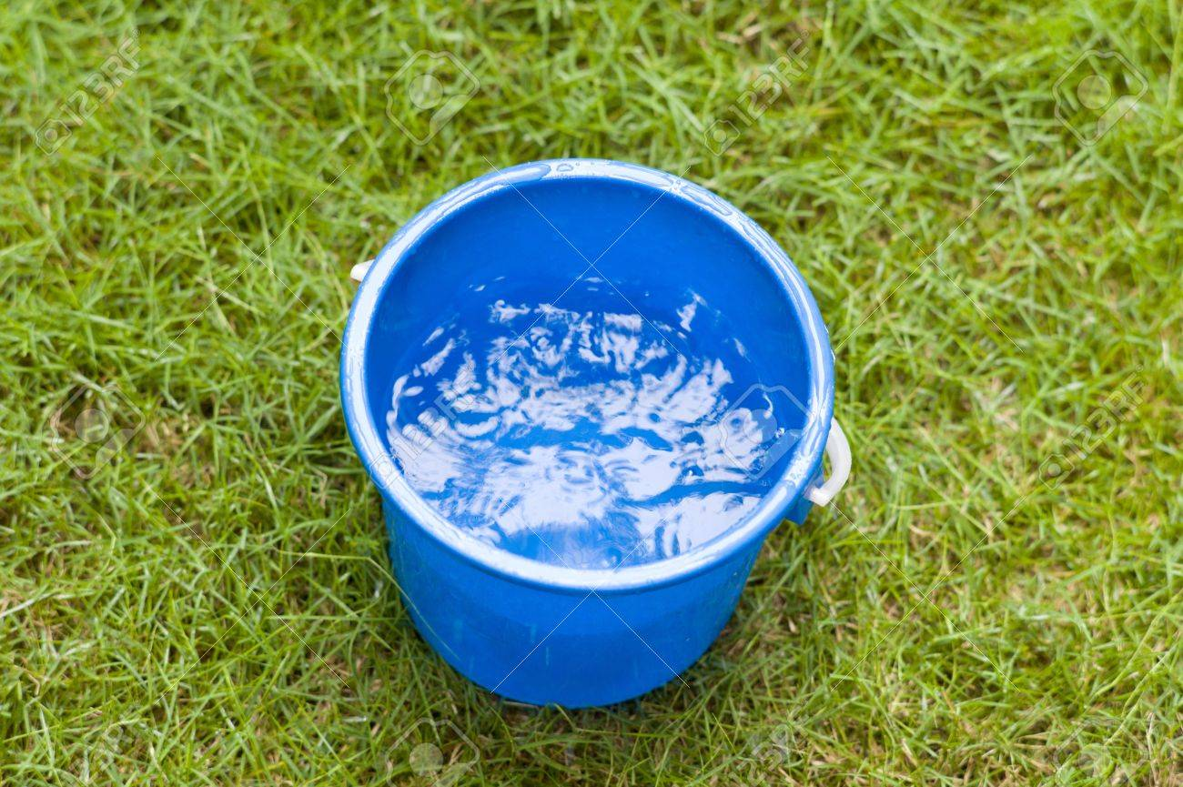 collecting rain water in a blue pail stock photo picture and