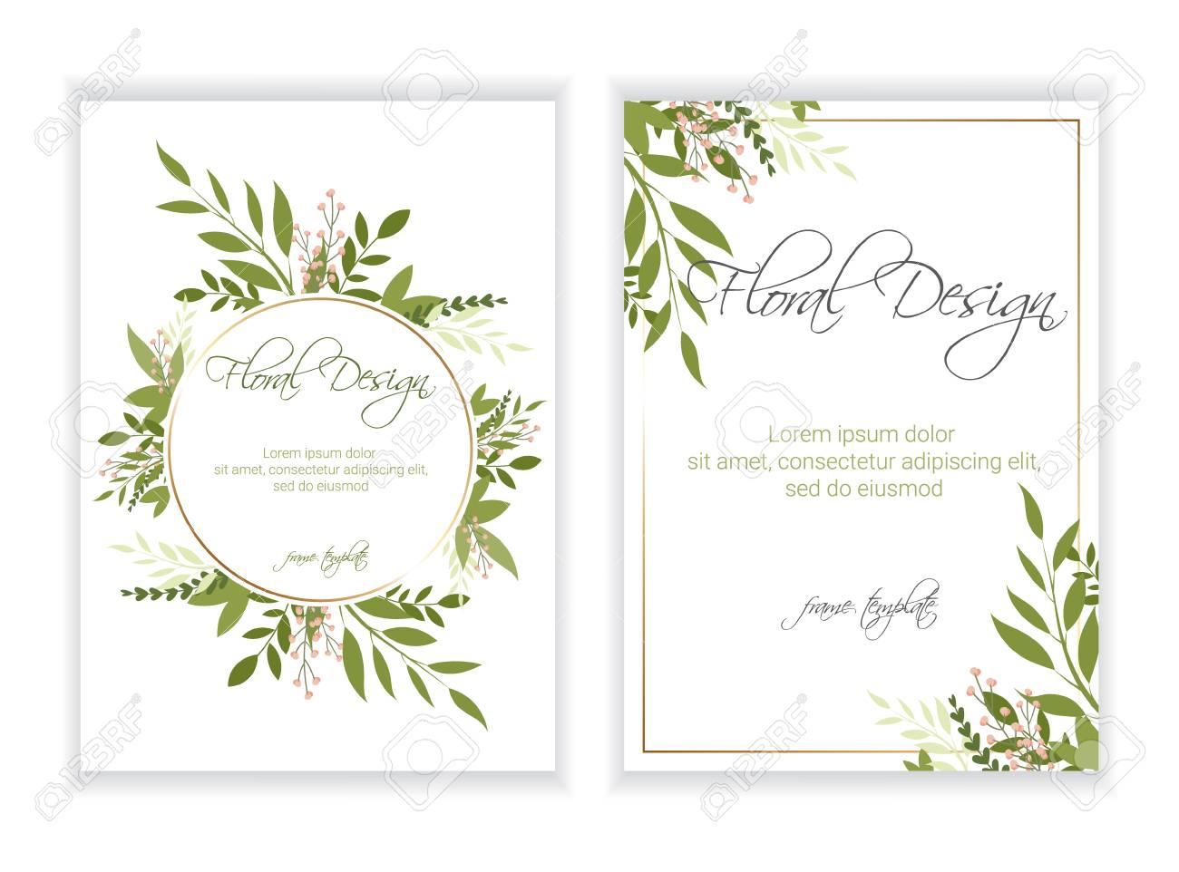 Banner on flower background. Wedding Invitation, modern card Design. eps 10. - 110782535