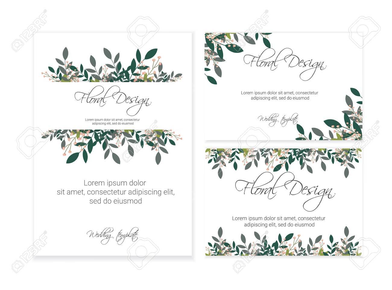 Banner On Flower Background Wedding Invitation Modern Card