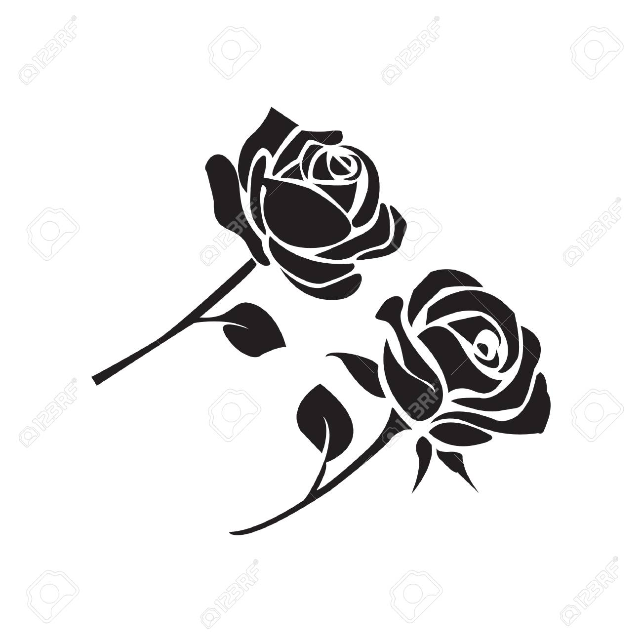 62430780d Simple Flat Black Rose Icon Vector Royalty Free Cliparts, Vectors ...