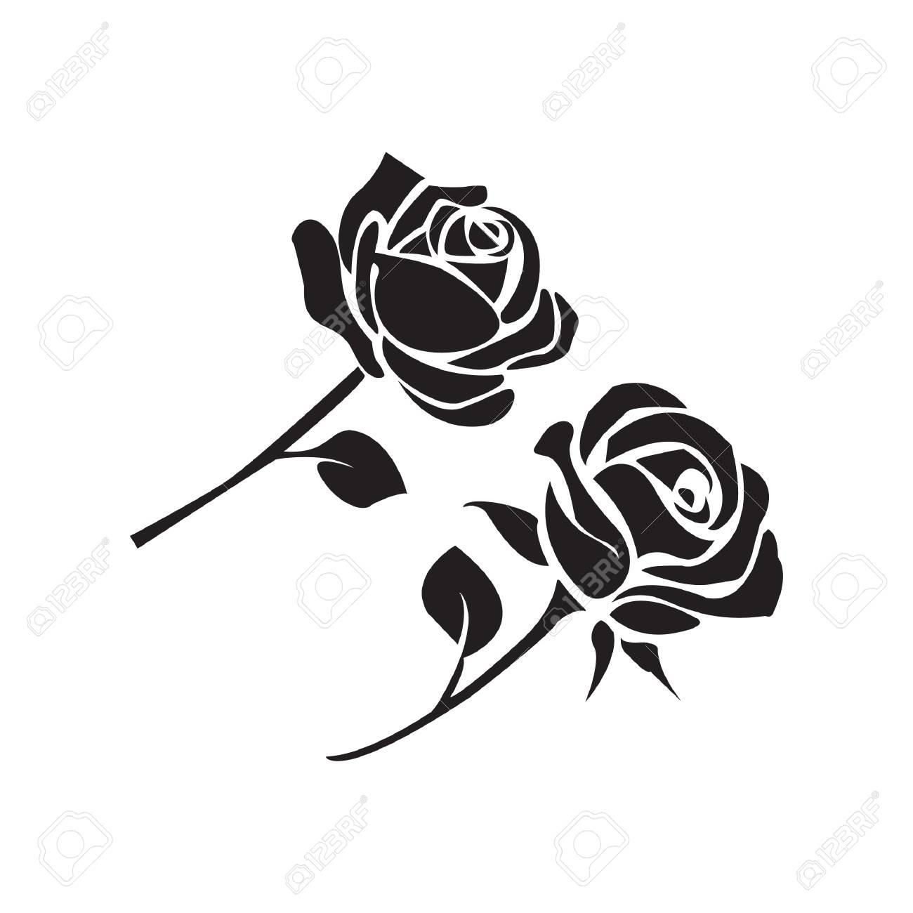 simple flat black rose icon vector royalty free cliparts vectors rh 123rf com rose vector art rose vector clip art