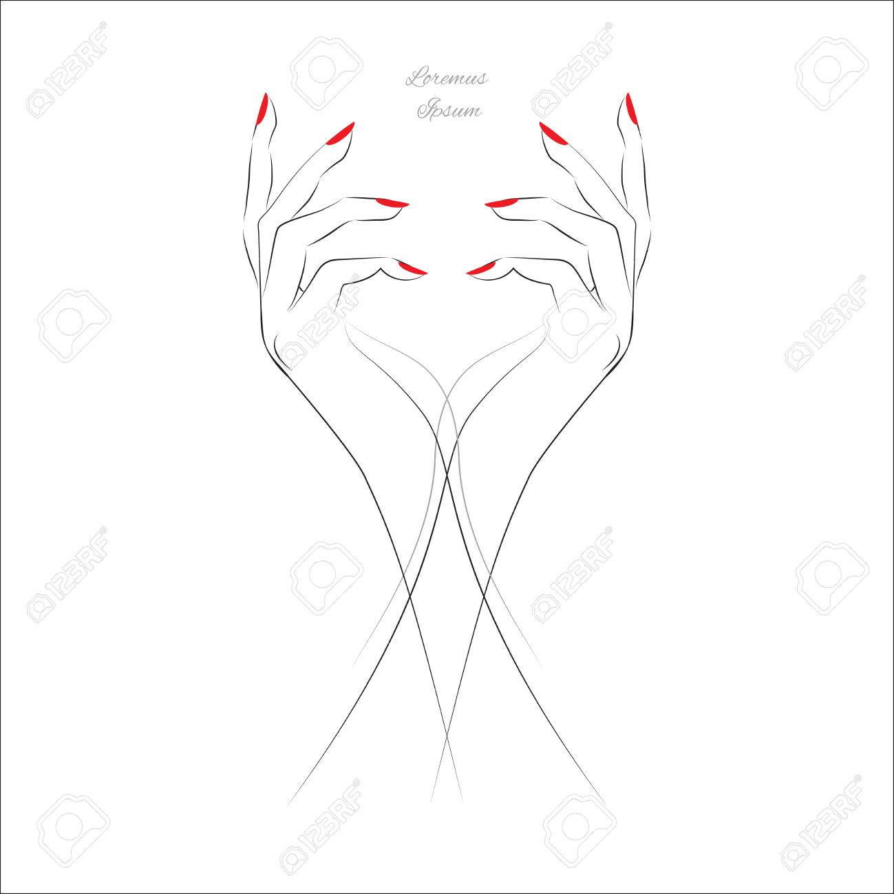 Female hand with painted nails, red manicure symbol. Vector illustration. - 51823886