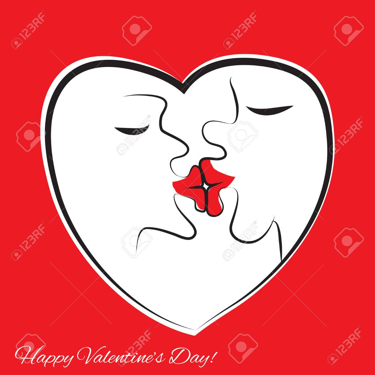 Kissing People. Frame In The Form Of Heart. Big Lips, Funny Vector ...