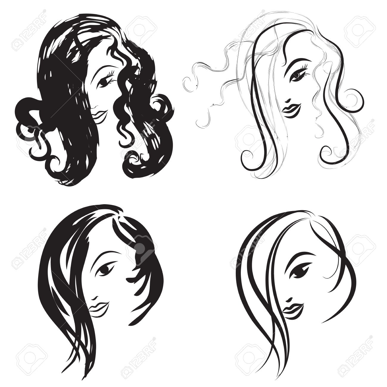 Some Hairstyles For Women Front View Black And White Outline Mode Hand Drawn