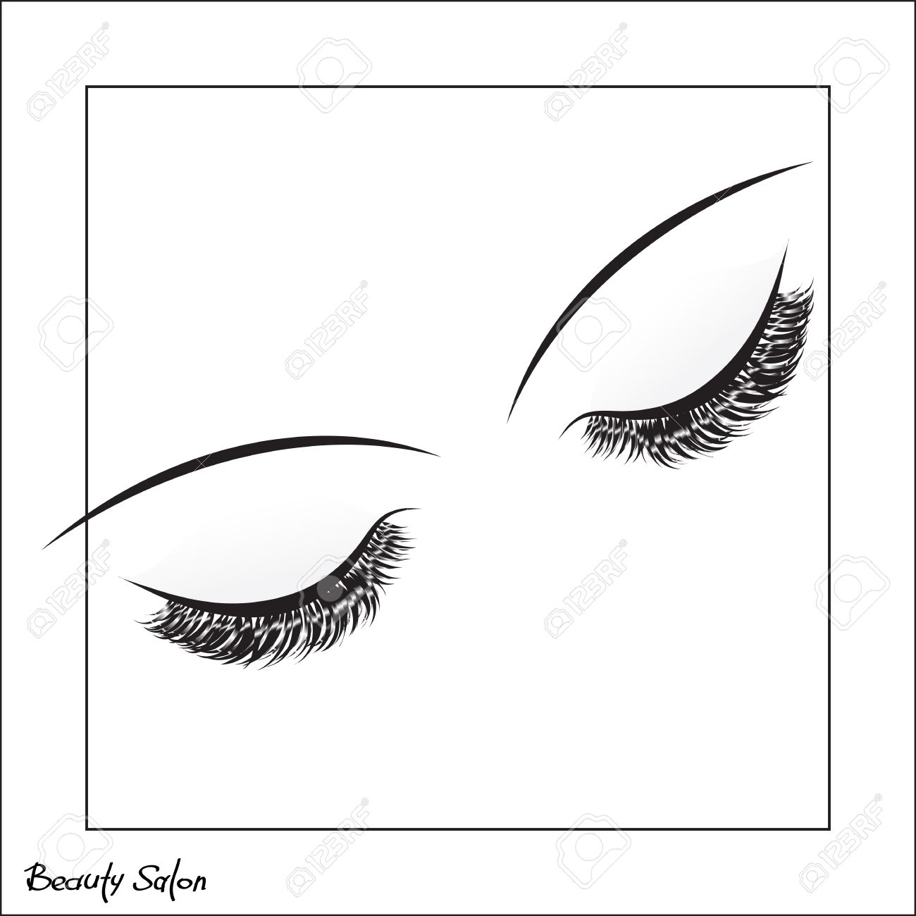 Vector Eye With Make Up And Long Lashes On White Background False Beauty