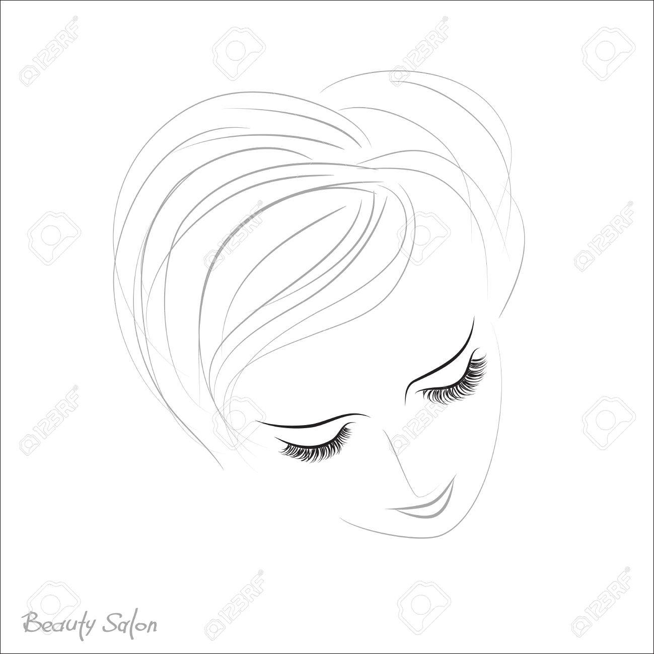 Closed Eyes With Long Eyelashes Sample Logo For A Beauty Salon Products Stock