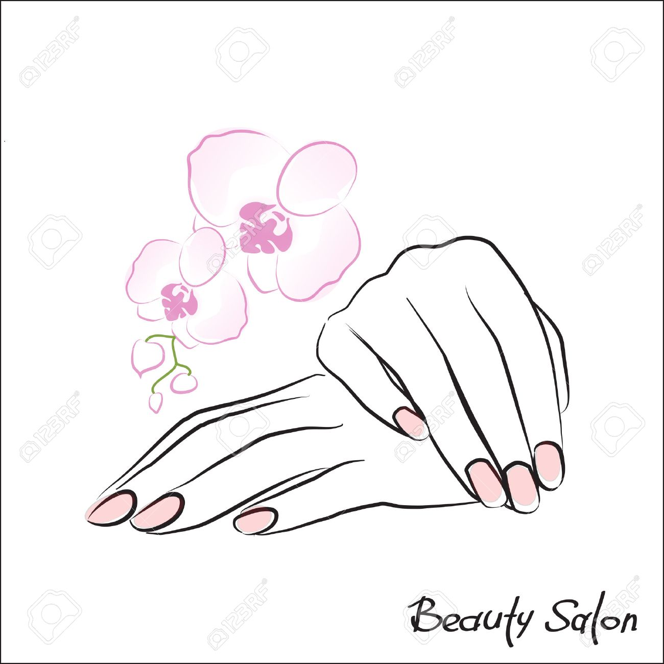 Female Hand With Painted Nails Pink Manicure Symbol Vector Illustration Stock